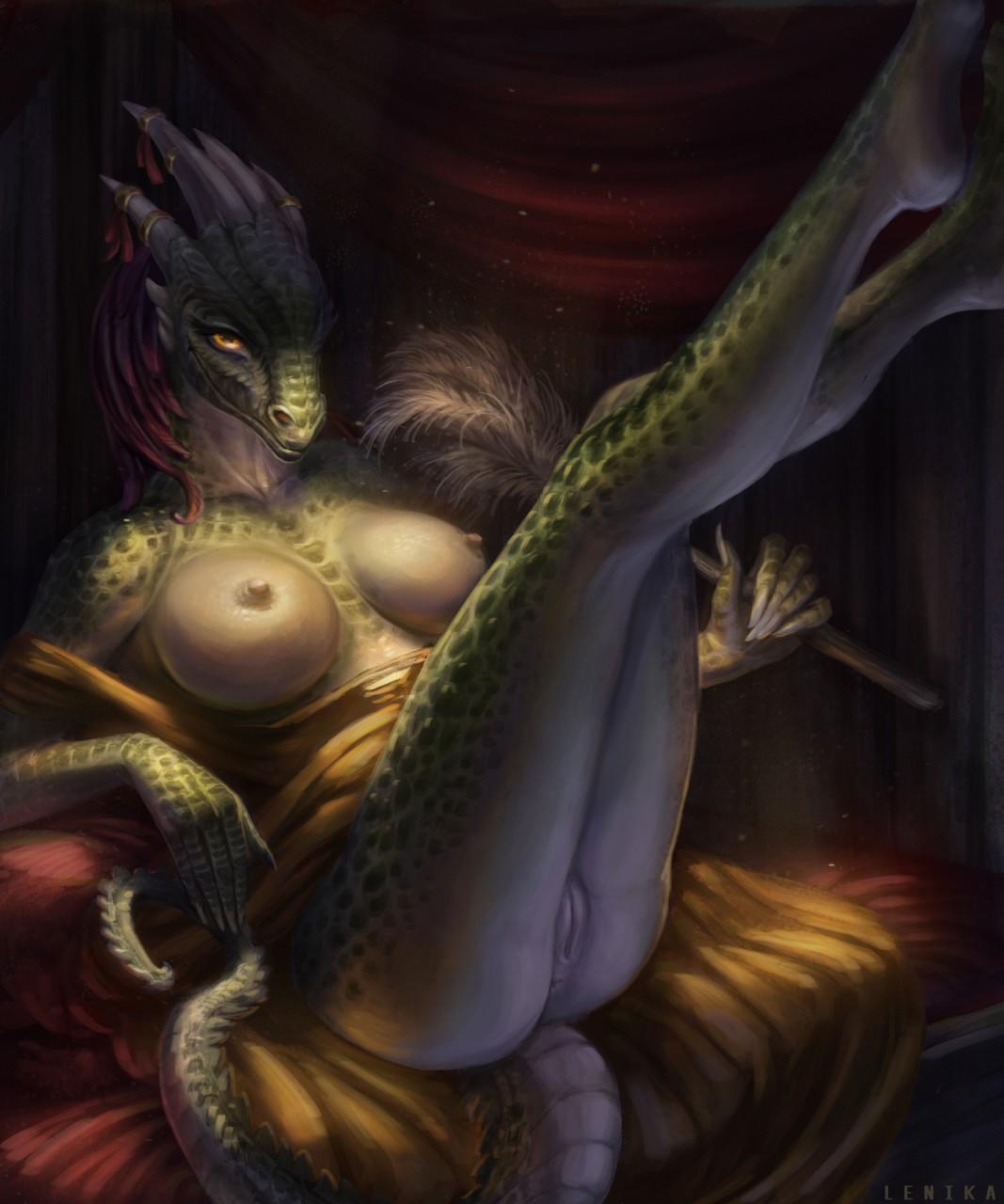 the lusty comic maid argonian Yuri from doki doki literature club
